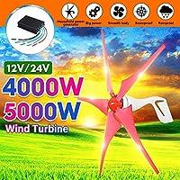 風力発電機、4000W / 5000W風力発電機5風力発電機12 / 24V家庭用街灯+充電コントローラー用水平風力タービン,5000w,24V