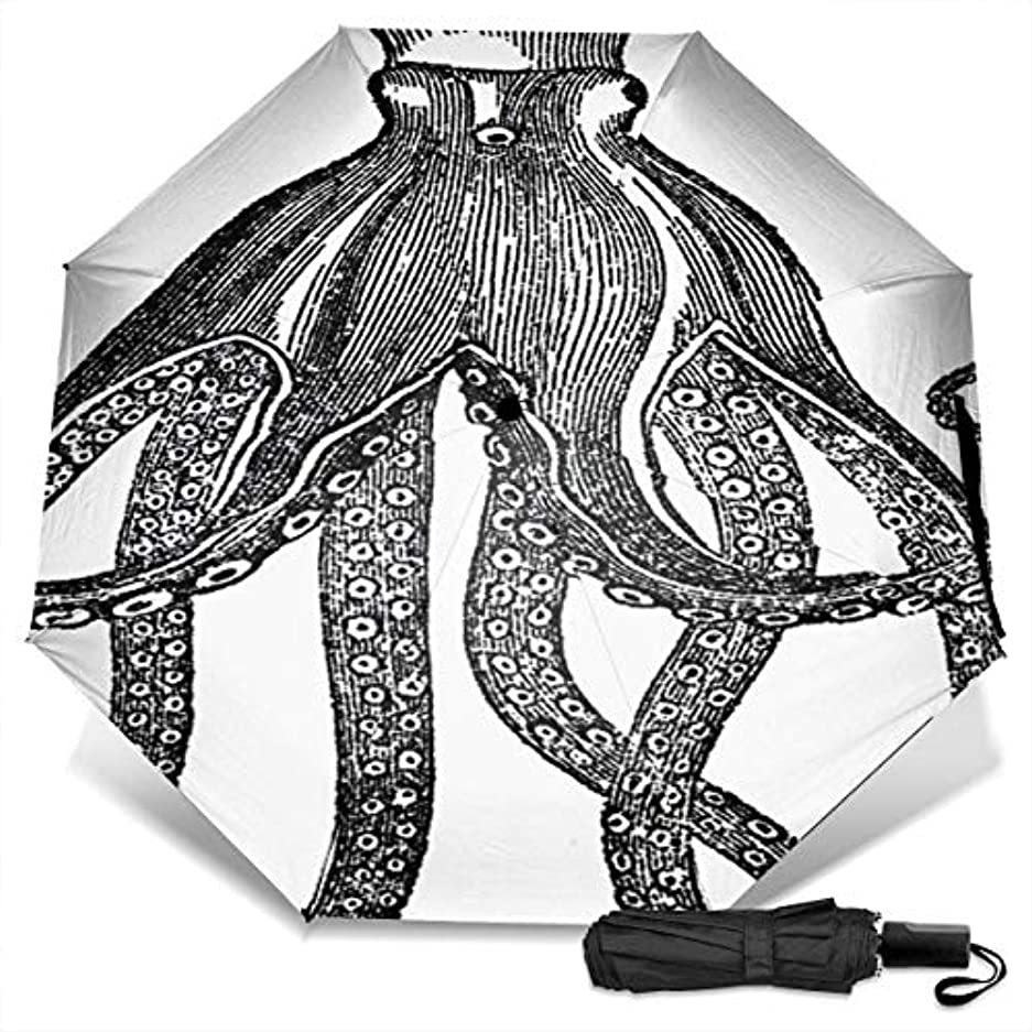 独占上下する顧問黒と白のタコ折りたたみ傘 軽量 手動三つ折り傘 日傘 耐風撥水 晴雨兼用 遮光遮熱 紫外線対策 携帯用かさ 出張旅行通勤 女性と男性用 (黒ゴム)
