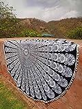 Traditional Jaipur ポンポムフリンジズレースラウンド黒と白のピーコックフェザーインドのマンダラスロー、ヒッピー壁掛け、ラウンドビーチタオル、ボヘミアンタペストリー、ボホピクニックブランケット、ジプシーテーブルクロス、ラウンドのヨガマット, Indian Tapestry, Round Mandala Beach Towel