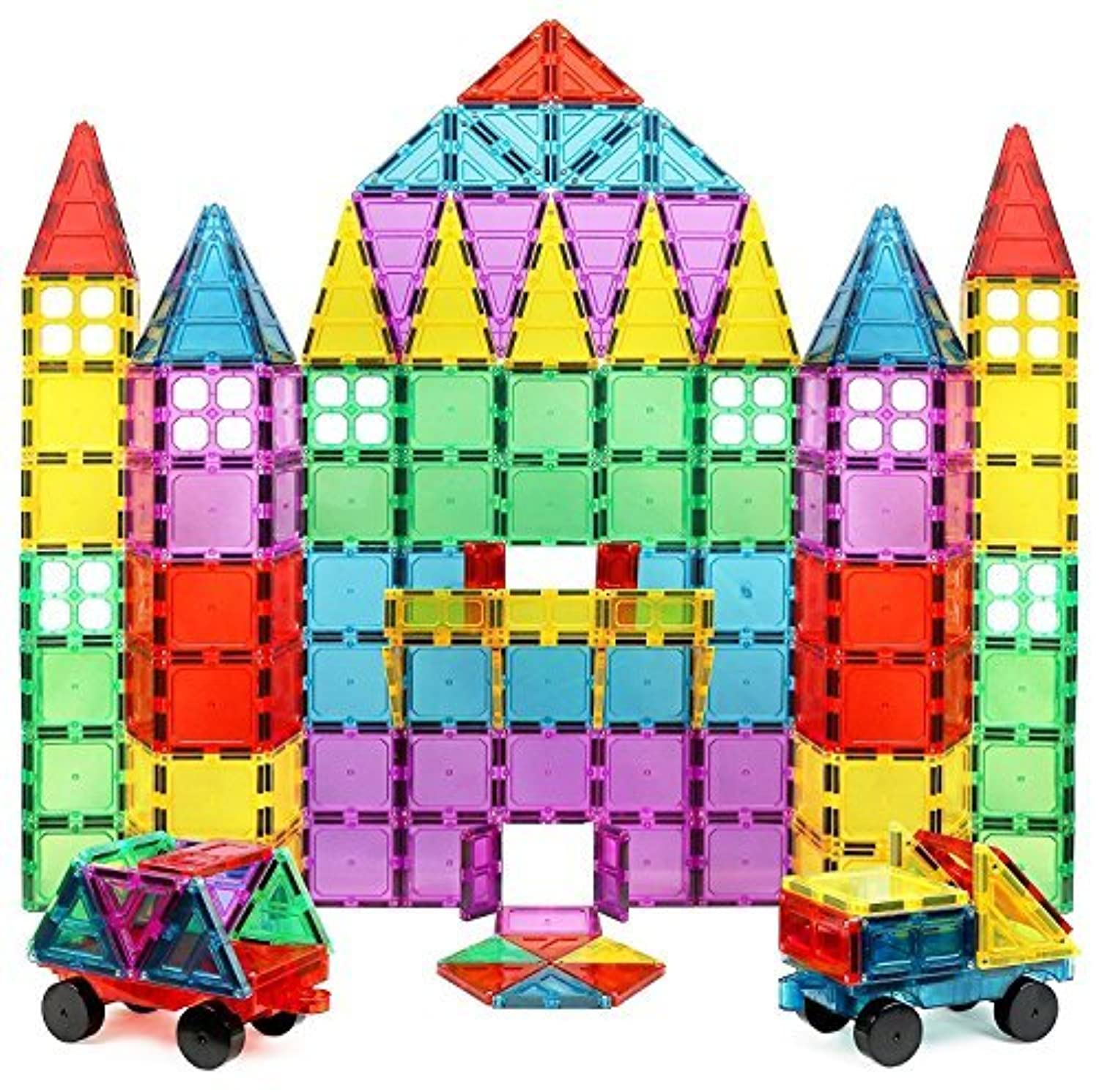 Magnet Build Deluxe 100 Piece 3D Magnetic Tile Building Set Extra Strong Magnets and Super Durable Tiles Educational Creative Assorted Shapes and Vibrant Bright Colors [並行輸入品]