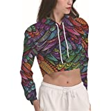 YICHUN Women Girl Short Top T-Shirt Thin Sweatshirt Hoodie Sweater Sport Hooded Sweat Jumper Blouse Pull