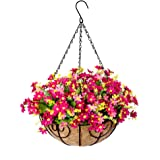 Hanging Flowers Basket, Fall Flower Centerpieces, Artificial Daisy Flowers in 12 inch Coconut Lining Hanging Baskets for The