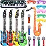 Inflatable Rock Star Toy Set - 18 Pack Inflatable Party Props - 4 Inflatable Guitar 6 Microphones 6 Shutter Shading Glasses 1 Saxophone and 1 Inflatable Keyboard Piano Inflatable Party Toys for The