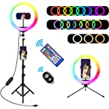 "10"" RGB Selfie Ring Light, SRUIM Desktop RGB Flash Ring Light with Tripod Stand & Cell Phone Holder, LED Dimmable Desktop Bea"