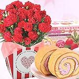 赤カーネーション5号鉢と苺ロールケーキのセット 花とスイーツ
