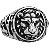Stainless Steel Cool Lion Ring Retro Classic Silver Hip hop Fashion Bands for Men Women