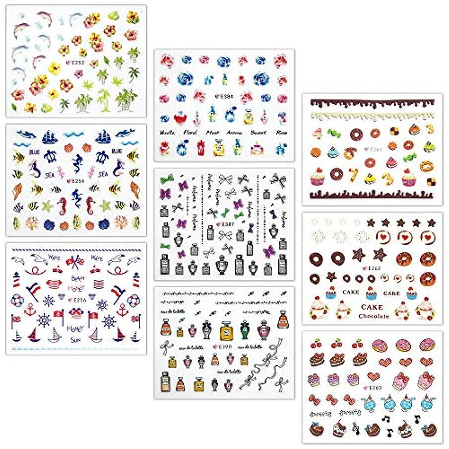 インセンティブコンピューターゲームをプレイする容量【リュミエラ】9枚セット レジン ネイル シールF【9種類各1枚】カラー バラ 小瓶 りぼん 海 ケーキ ドーナッツetc. ネイルにも!