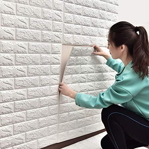 Sunhoo 3D壁紙 レンガ調 DIY壁紙シール ステッカー タイル ウォールステッカー フォームブリック 防音 シート 60cm*60cm ホワイト (60*60cm(10枚入れ))