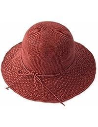 ymfie Ladiesサンスクリーン折りたたみサンシェード帽子アウトドアビーチリゾートSun HatストローHat