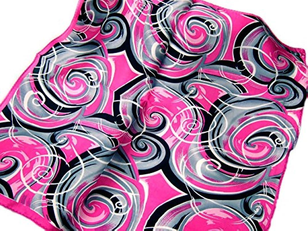 ハードリング口路面電車シルク100%スカーフ サイケデリック 渦巻 ネッカチーフサイズ 約50cm 正方形 ピンク グレー