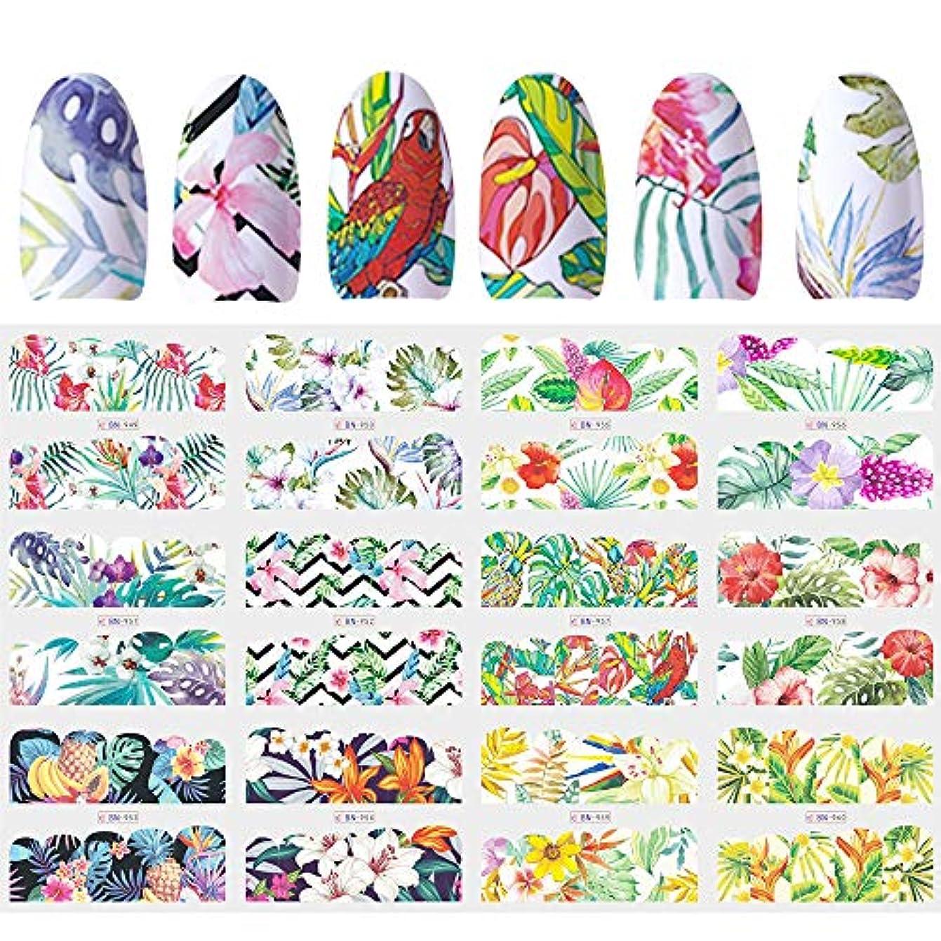 妖精リードバイバイSUKTI&XIAO ネイルステッカー 12デザインスライダーネイルステッカー水デカール転送タトゥートロピカルジャングル動物の花の接着剤マニキュアの装飾のヒント
