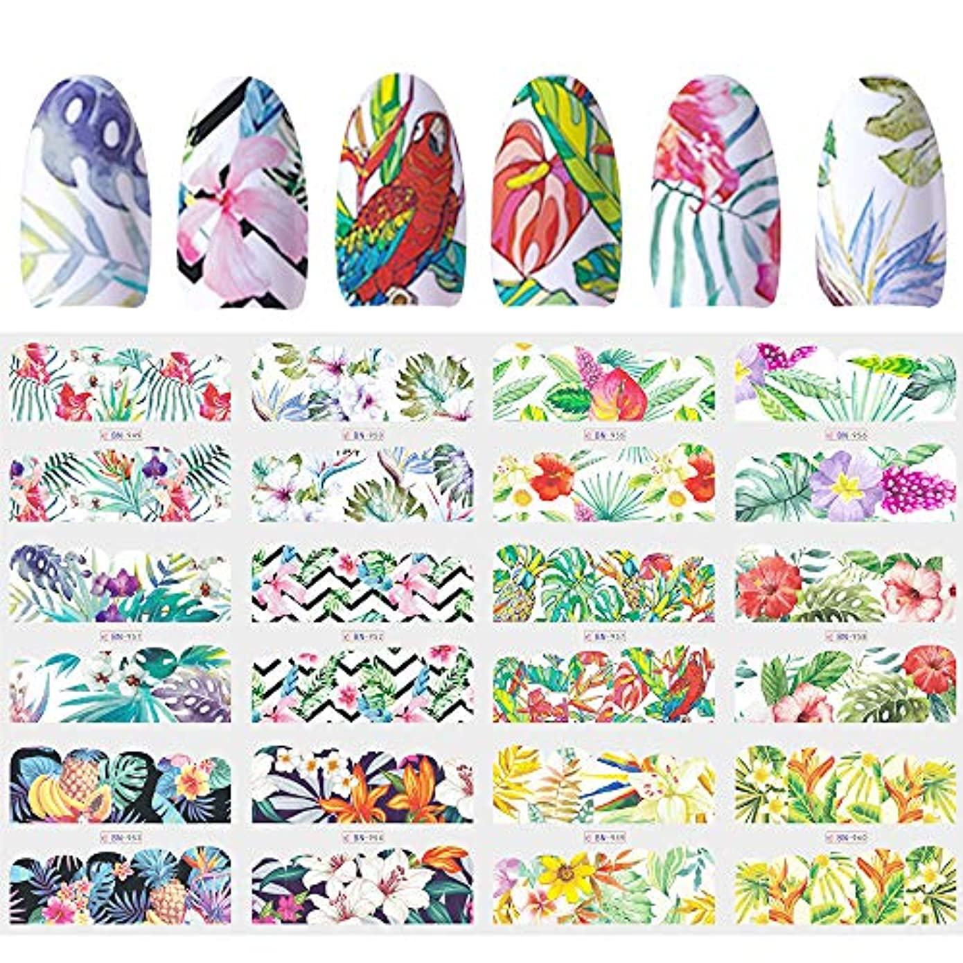 可動もう一度ロバSUKTI&XIAO ネイルステッカー 12デザインスライダーネイルステッカー水デカール転送タトゥートロピカルジャングル動物の花の接着剤マニキュアの装飾のヒント