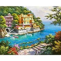 LovetheFamily 美しい海辺の別荘 数字キットによる絵画 数字油絵 数字キット塗り絵 手塗り DIY絵 デジタル油絵 ホーム オフィス装飾 (40x50cm, フレームレス)