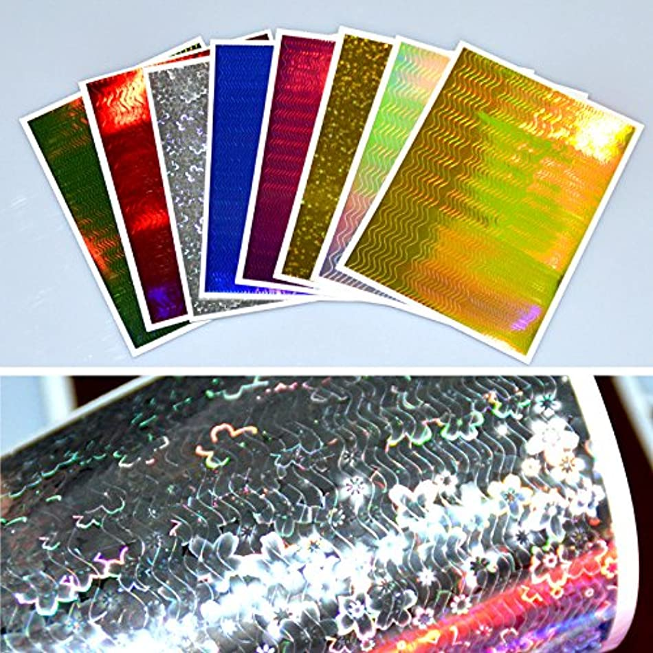 危機酔う昼寝SUKTI&XIAO ネイルステッカー 8枚ホログラフィック3DネイルステッカーウェーブラインストライプテープDIY箔マニキュアネイルデカールステッカー