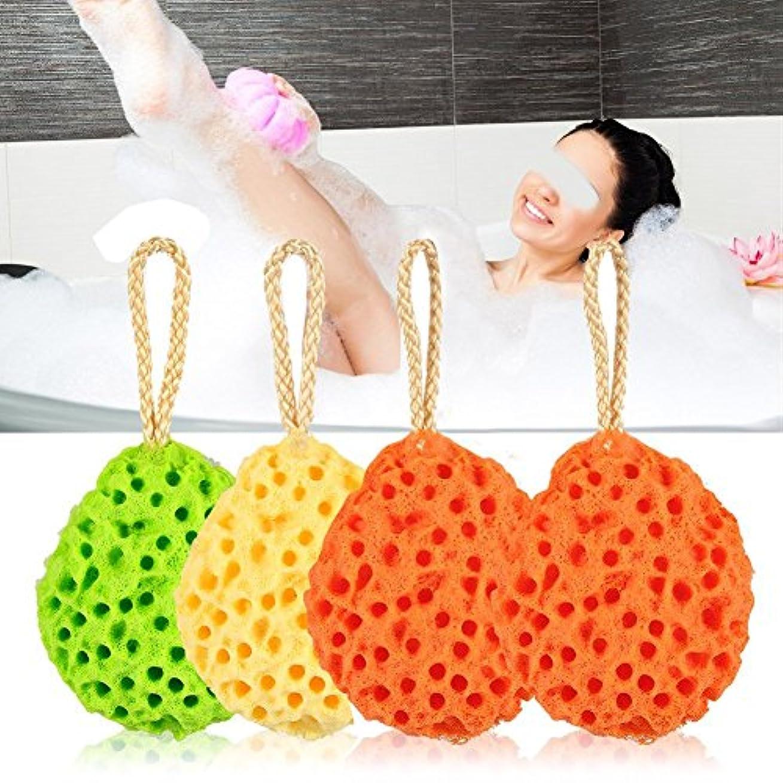 適性彫刻不透明なZJchao 柔らかいスポンジバスボールを剥離、8個の有機スキンケアシャワースパボディスクラブスクラブブラシを清掃