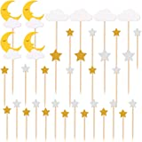 TAJIAA 36PCS Glitter Star Moon and Clouds Cupcake Toppers Picks for Birthday Party Baby Shower Wedding Christmas Valentine's