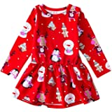 Jeinxcn Toddler Baby Little Girl Christmas Dress Red Long Sleeve Floral Print Princess Dress Outfit Clothes