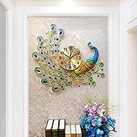 ウォールクロックピーコッククリエイティブリビングルームベッドルームモダンデザインサイレントクォーツホームインテリアピーコック