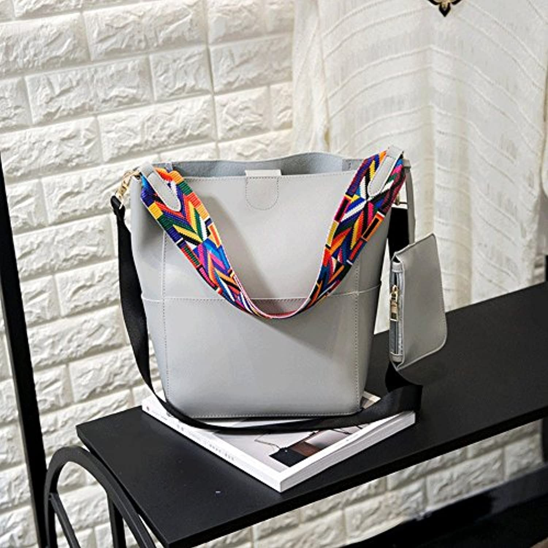 tropical レディースバッグ ショルダー 斜めがけ 大きめ 軽量 大容量 ファッションレディース トートバッグ カラフル ストラップ PUレザー ハンドバッグ 2点セット