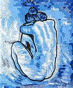 パブロ・ピカソ ブルーヌード 青の時代 モザイク複製 大理石アート タイルアート デザインタイル DIY 材料
