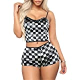 Adogirl 2 Piece Outfits for Women - Cute Summer Outfits Rhinestone Letter Crop Tank Top Shorts Pants Sets Sportwear Romper