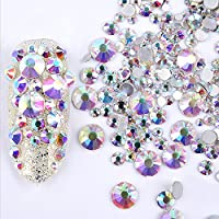 ICYCHEER Nail Art Rhinestones 2mm-6mm Resin Crystal AB Round Flat Bottom Gems,Mix Shape,Gemstones,300 piece,3D Nail Diamond Decoration Manicure (02)