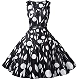 LONGYING Women's Casual Printed Vintage Sleeveless Dress Party Swing Midi Dress with Belt