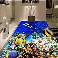 Mbwlkj 3D 壁紙 水中世界の熱帯魚の床塗装店のレストランの装飾粘着式フロアの壁画がある。-450Cmx300Cm