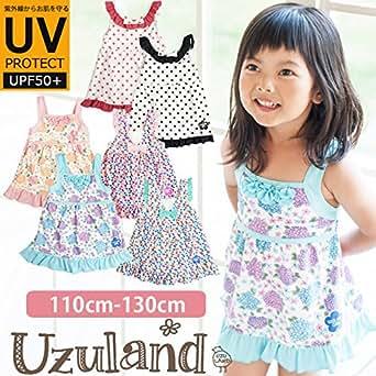 96246b387992e 女の子 裾フリル Aライン ワンピース 水着 子供用 キッズ UVカット UPF50+ 韓国子供服