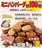 ハンバーグ メガ盛り約100個 一口サイズのミニハンバーグ(国産鶏使用)1kg×2P カレー、お弁当、朝食に最適なお惣菜、おかず【レンジでチン】