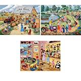 Bits and Pieces???3つのセット( 3?) 500?Piece Jigsaw Puzzles for Adults???シーンからAmerican Towns???500?pc Jigsaws by Artist Kay Lamb Shannon