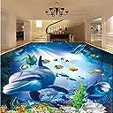 Wuyyii カスタムサイズの壁画壁紙3D水中世界イルカ写真壁紙自己接着防水3D床タイル壁紙-250X175Cm