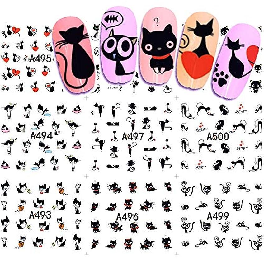 シリンダーつらい腕12デザイン水転写ネイルアートステッカーとデカール夏デザイン漫画猫セットかわいいスライダータトゥーマニキュアSAA493-504