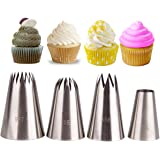 Piping Tip Set,MKNZOME 4 Pcs Stainless Steel Icing Frosting Tips DIY Baking Tools for Cake Cookies Dessert Pastry Decoration