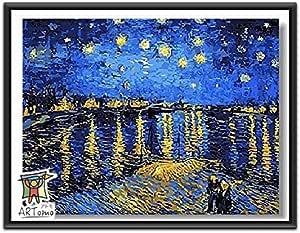 ARTomo【アトモ】パズル油絵『フレーム付き 世界名画』数字 油絵 DIY 塗り絵 本格的な油絵が誰でも簡単に楽しく描ける 40x50cm (ゴッホ ローヌ川の星月夜(星降る夜))