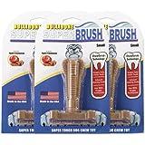Bullibone SuperBrush: Dog Teeth Cleaning Bristly Brushing Stick - Durable Long Lasting Nylon Apple Cinnamon Chew Toy for Cani