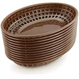 New Star Foodservice 44102 Fast Food Baskets, 9.25 x 6 inch Oval, Set of 12, Brown