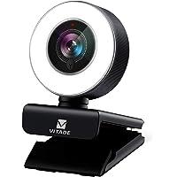 ウェブカメラ フルHD 1080P マイク内蔵 LEDライト付き 広角 webカメラ 200万画素 オートフォーカス 自…