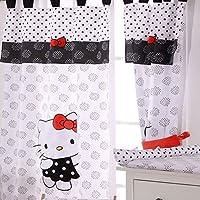 Hello Kittyブラック4ピースベビーベッド寝具セット Curtain ブラック DAME-HELLO-KITTY-BLACK-CURTAIN