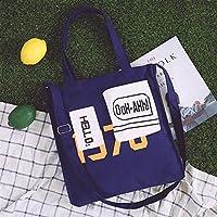 Has Many Uses Casual Canvas Bag Female Student Wild Shoulder Bag Slung Tote Bag Handbag Dark Blue