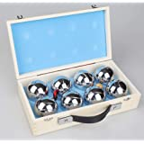 Deluxe Boules Bocce 8 Alloy Ball Set Jeu de Boules with Sturdy Wooden Case - Fun and Exciting Classic French Game with Jack I