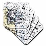 フローレン–航海マップ飾り–メイン州の印刷Rockport with Ghost Shipチャート–コースター set-of-8-Soft 3dRose LLC cst_204894_2