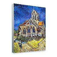 "Alonlineアート–Church at Auvers Vincent van Gogh Framedのコットンキャンバスホーム装飾壁アート博物館品質フレームをハングアップする準備フレーム 24""x32"" - 61x81cm (Stretched Cotton Canvas) VF-VNG102-SCC0F01-1P1A-24-32"