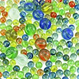 """(312+ Count) 12 1"""" Large Marbles and 300 5/9"""" Marbles in Bulk Glass Marbles, Assorted Colors"""