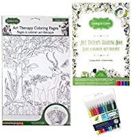 Art Therapy Lost In The Forest Colouring Book - Safari Colouring Page Posters and 12 Colour Factory Fine Tip Markers Living In Colour Bundle