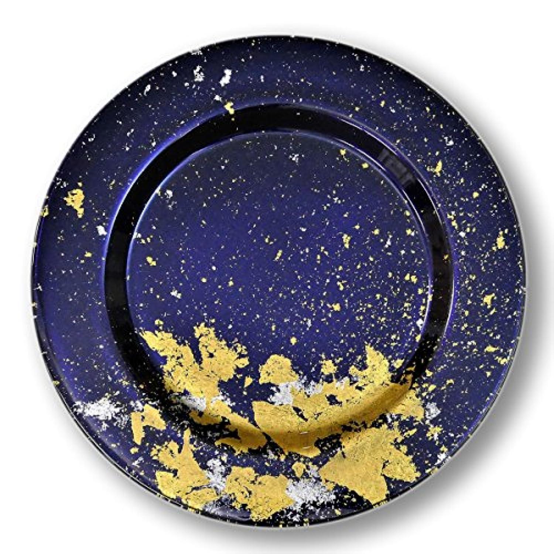 CtoC JAPAN Select 大皿 漆ガラス食器 アンダープレート S(3-A-001) ブルー (約) Φ28.3cm x H2.3cm MAJO 食器 硝子 漆 金箔 NKF 3-A-001