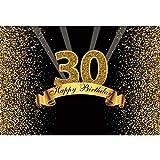 Yeele 9x6フィート 30歳の誕生日 写真撮影用背景 きらめくゴールドとブラックの背景 ハッピーバースデーパーティー装飾 バナー お祝い 大人用 写真ブース撮影 ビニールスタジオ小道具