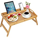 Bed Tray Table with Handles Folding Legs Bamboo Breakfast Tray with Phone Tablet Holder Foldable Breakfast Food Table Laptop