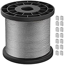 1/16 Wire Rope, Stainless Steel 304 Wire Cable, 328ft Length Aircraft Cable,7x7 Strand Core, 368lbs Breaking Strength with 100Pcs Aluminum Crimping Clamps Loop Sleeve for Outdoor,Garden,Kitchen,Craft