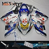 MSX-moto 適応ホンダ Suzuki GSXR600 GSXR750 K4 GSX-R600 GSX-R750 04 05 GSXR 2004 2005年 小R 外装パーツセット ABS射出成型完全なオートバイ車体 青/ブルー&白/ホワイトのボディ